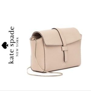 NWT Kate Spade leather gold chain bag beige
